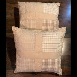 Throw pillows light brown quilted covers